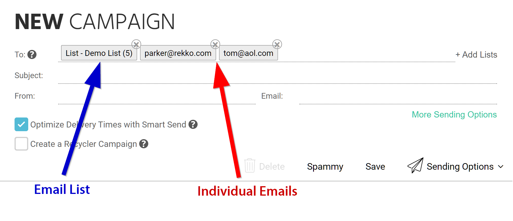 Emails in the TO field can now be combined with traditional Charley Mailing Lists