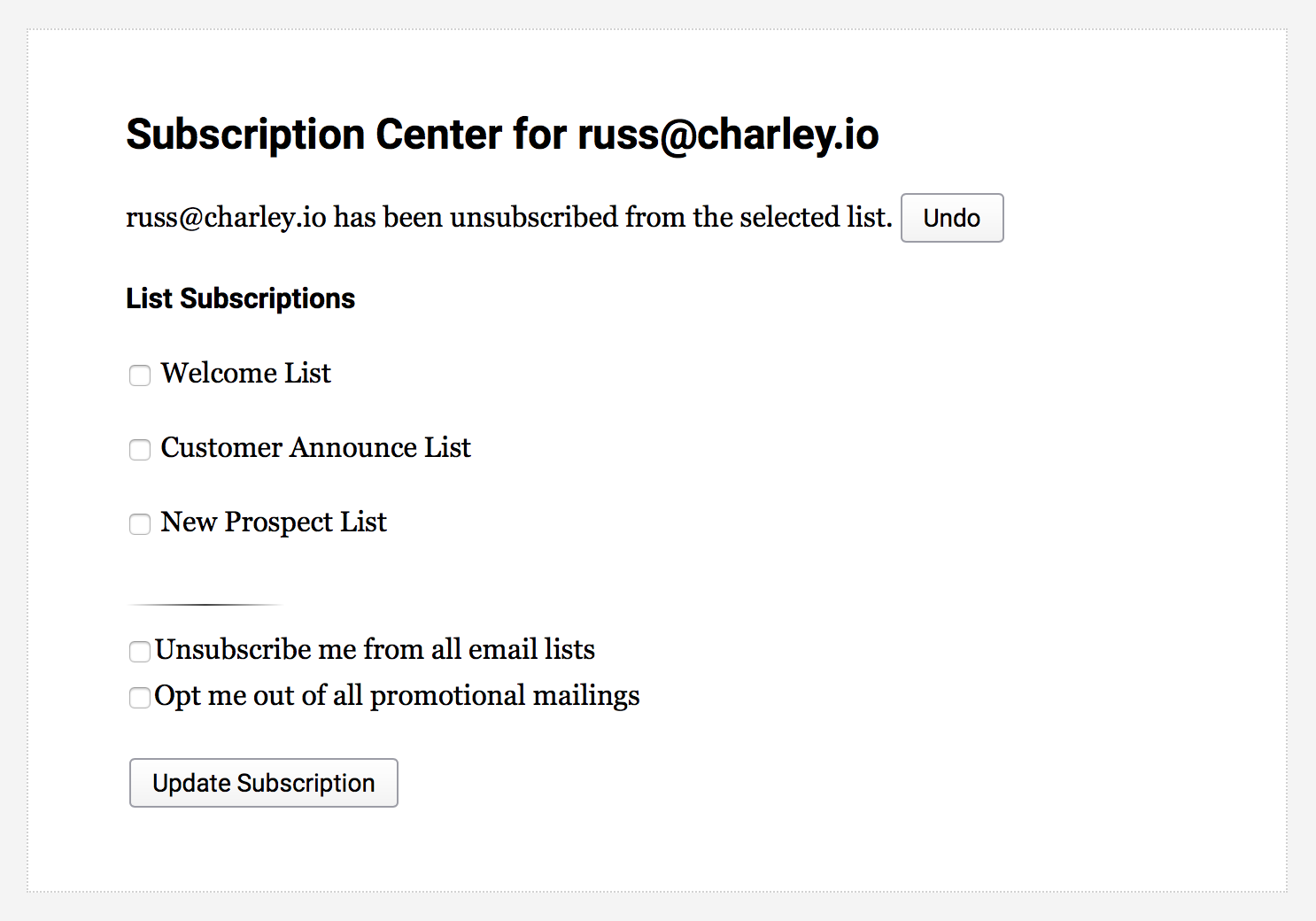 Charley Subscription Portal